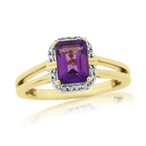 Octaganal Amethyst And Diamond 9 Carat Gold Cluster Ring